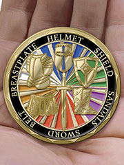 A two-sided removable Challenge Coin accompanies each knight