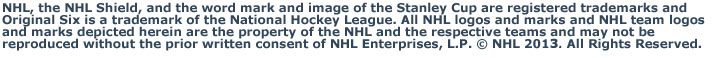 NHL, the NHL Shield, and the word mark and image of the Stanley Cup are registered trademarks of the National Hockey League. All NHL logos and marks and NHL team logos and marks depicted herein are the property of the NHL and the respective teams and may not be reproduced without the prior written consent of NHL Enterprises, L.P. © NHL 2011. All Rights Reserved.
