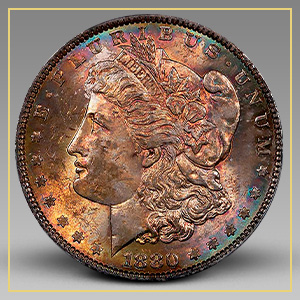 Rainbow-Toned Morgan Dollar