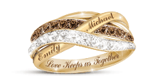 'Together In Love' Mocha And White Diamond Ring With 2 Names
